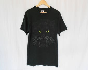 vintage cat print tshirt made in usa fruit of the loom