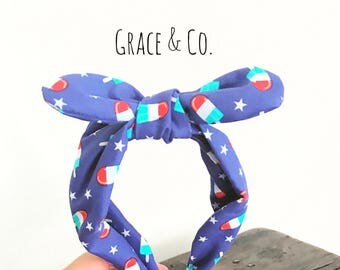 4th of July Popsicle Headwrap || one size fits all- Red, white, blue turban, knot headband