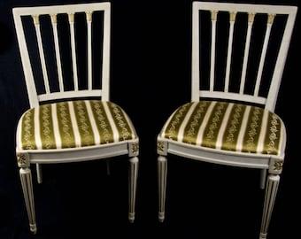 Rare Pair of Vintage Swedish Gilt Decorated Leksand Dining Chairs