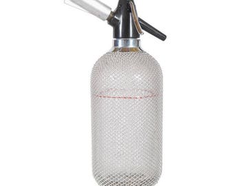 Soda Siphon Seltzer Bottle with Wire Mesh Metal Around Glass