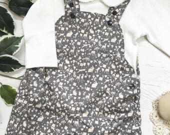 Cute Grey Woodland Print Cotton Dungress, fully lined. 0-3 years