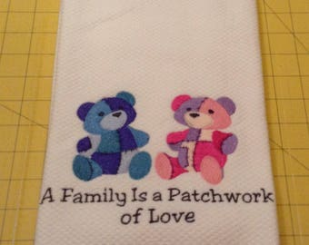 VALENTINE....Family Is Love! Embroidered Williams-Sonoma All Purpose Kitchen Hand Towel, Made in Turkey, Extra Large