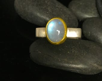 Moonstone ring; square ring;  silver and gold ring