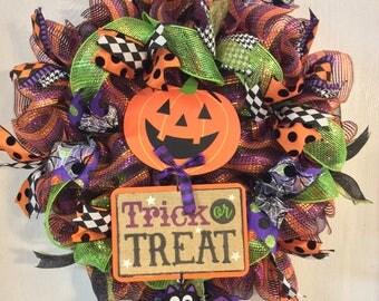 Halloween Wreath-Pumpkin Wreath-Happy Halloween Wreath-Mesh Wreath-Mesh Wreath-Bat Wreath
