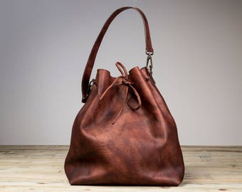 Leather Bucket Bag, Brown Leather Bucket Bag, Brown Bucket Bag