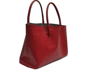 XXL Leather Shopper Big shopper Ledershopper shopping bag Red handmade