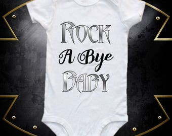 Rock a bye baby, baby bodysuit,  one-piece shirt, band shirt, band onesie, rock band onesie