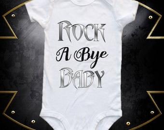 Rock a bye baby, baby bodysuit,  one-piece shirt, band shirt, band onesie, rock band onesie