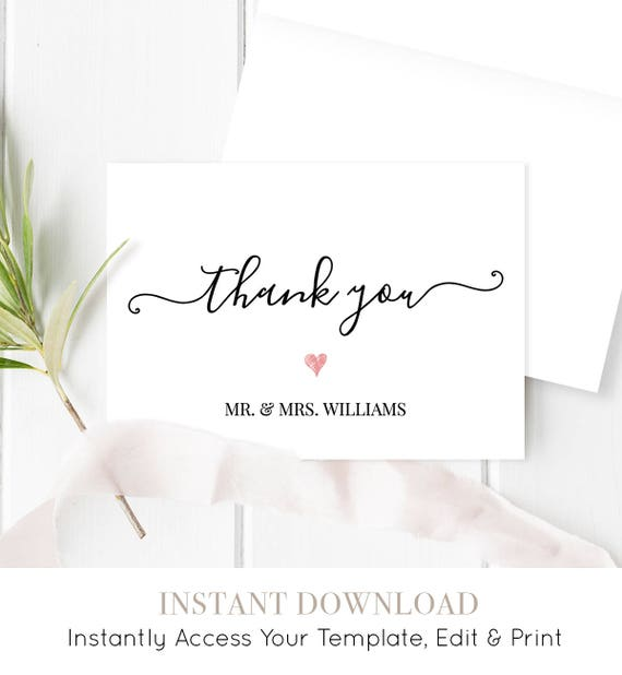 Thank You Card Template, Printable Wedding Thank You, Modern Calligraphy, Editable Template, Instant Download, 3.5x5 Folded Card #030-102TYC
