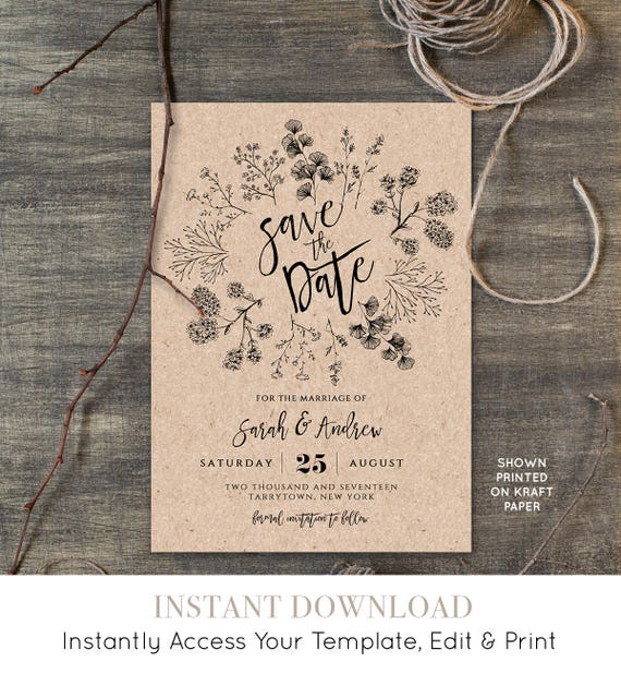 Rustic Save the Date Template, Instant Download, Printable Kraft Wedding Save the Date, Fully EditableTemplate, Digital, DIY #018-107SD