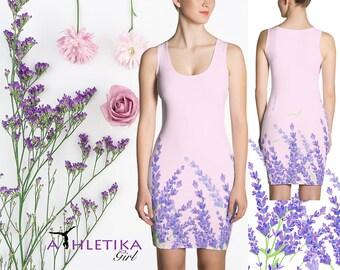 Floral Lavender Field Inspired Bodycon Mini Short Sleeveless Dress Mint Summer Flowers Print Purple Pink White Black LBD Woman Girl Elegant