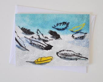 Birds Feathers Greeting Card for Lovers of Birds, the Sea and Fairy Tales