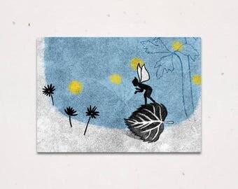 Magical Pixie Elf on Leaf Greeting Card - Fairy Tale Illustration