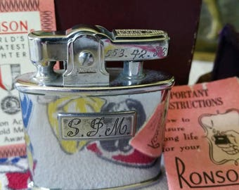 """Mid-Century Modern """"Ronson Standard"""" Personalized Pocket Lighter with Felt Original Instructions and Box"""