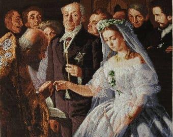 "Handmade Petit Point Gobelin ""The Unequal Marriage"" (after Vasili Pukirev painting)"
