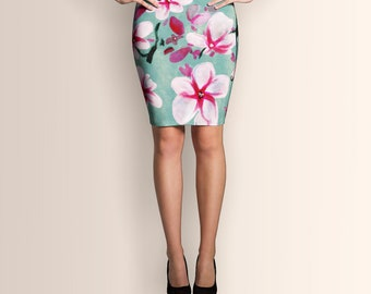 Watercolor Blossoms, Pencil Skirt