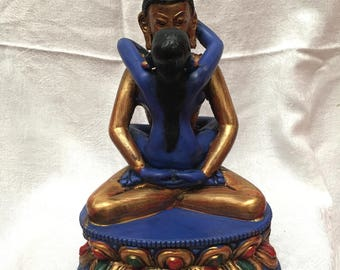 Samantabhadra Buddha - 5 inches tall Resin Status in  Golden Blue finish. It is 8x5x3 Inches