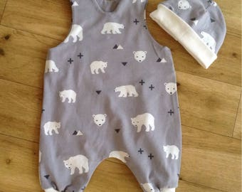 Polar Bear Romper, Polar Bear Harem Romper, Grey bear Romper, Polar Bear Baby Gift, cute Bear Romper