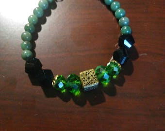 Jade and crystal bracelet