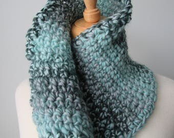 Light Blue and Grey button Cowl