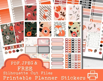 Fox Printable Planner Stickers, pdf Planner Stickers, Erin Condren Planner Stickers, Woodland Sticker Kit, Autumn Stickers, Fall Stickers
