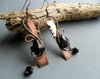 Copper, Wire earrings, Metalwork jewelry, earrings, Wire wrapped jewelry, Artistic earrings, Boho rustic earrings, Textured metal, Handmade