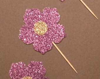 12 Flower Cupcake Toppers Purple Cupcake Toppers Baby Cupcake Toppers Glitter Cupcake Toppers Shower Toppers Birthday Cupcake Toppers
