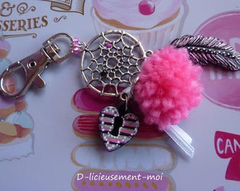 Bag tassel heart and polymer clay feather dream catcher snap charm keychain
