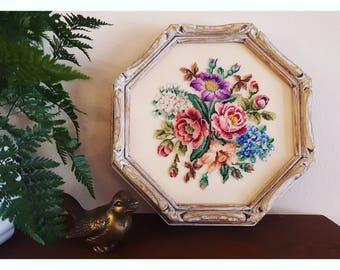 Vintage Floral Needlepoint in Distressed Wood Frame