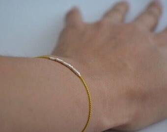 Aunt Bracelet / Aunt Gift / Morse Code Announcement Bracelet / Yellow Silver String Auntie Bracelet