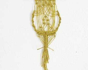 Golden Goddess Wall Hanging, Macrame