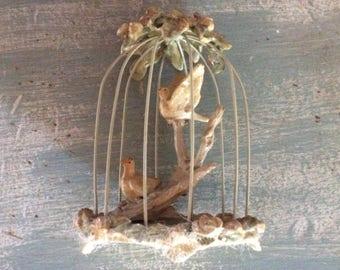 Antique Barbola, Paper Mache, and Wire Birds in Cage, Excellent!  Rare Treasure!