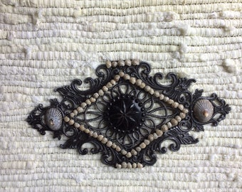 Vintage Salvaged Metal Fret Work Wall Hanging, Upcycled with Large Antique Glass Button, Opihi Shells and Tiny Snail Shells