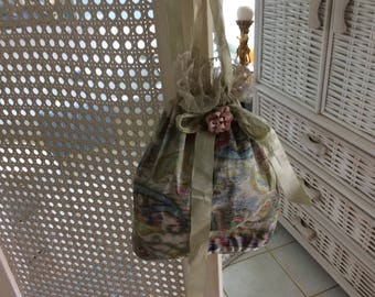 Antique Victorian Watered Silk Bag with Lace and Silk Ribbons and Ribbon Work