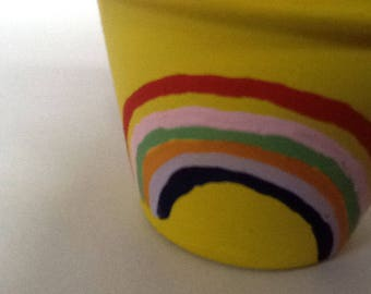 Rainbow (Yellow) Painted Plant/Flower Pot (various colours, designs and sizes available)
