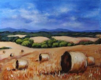 Landscape painting, original  painting, fields