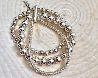 Sterling Silver Multi-strand Bracelet #736