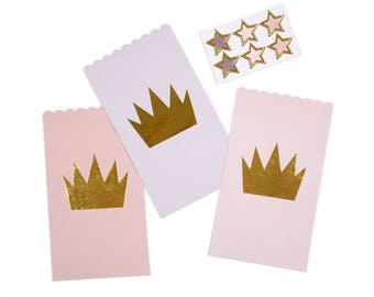Princess Favor Bags / Gold Crown Favor Bags / Favor Bag / Treat Bag / Thank You Bags / Princess Party