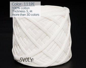 Cream white T-shirt yarn Fabric yarn Cotton crochet yarn Spaghetti yarn Bulky yarn Craft material / 111PE / 5 m (5.5 yrds)