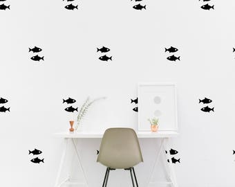 Fish wall Decal Kids room Nautical Fishy Wall Sticker, Bedroom Office Pattern Wallpaper Vinyl Wall Decals, Bar Wall Stickers Home Decor
