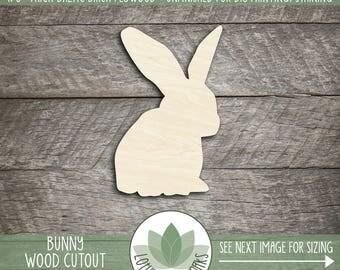 Bunny Wood Cut Shape, Unfinished Wood Bunny Rabbit Laser Cut Shape, DIY Craft Supply, Many Size Options