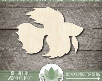 Betta Fish Wood Cutout, Woodne Siamese Fighting Fish Shape, Blank Wood Shapes, Unfinshed Wood Shapes For DIY Projects, Wood Fish, Many Sizes