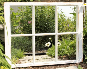Old Window Mirror: Rustic Barn Window