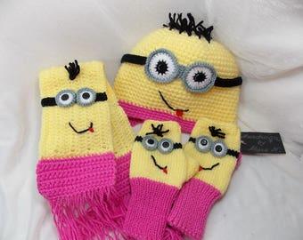 Minions crochet set,funny hat,warm hat, Minions gloves,  Minons scarf