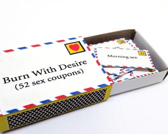 Tiny Sex Coupons, 52 Naughty Cards, Matchbox, For Boyfriend, Girlfriend, Husband, Wife, Sexy Valentines Gift, Paper Aanniversary,Adult Games