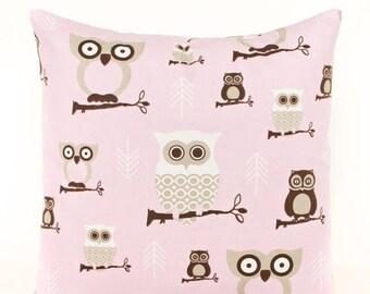 SALE ENDS SOON Pink Owl Pillow Cover, Girls Room Decor, Owl Throw Pillow, Kids Owl Pillow, Kids Room Decor, Nursery Soft Pink Pillow