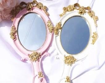 Vintage handpainted gold rimmed floral handheld mirror