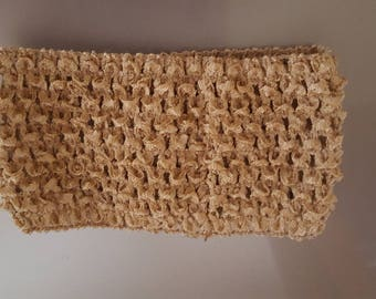 Headband wide and soft crocheted Brown/light Taupe for tutus, dresses, hair accessory