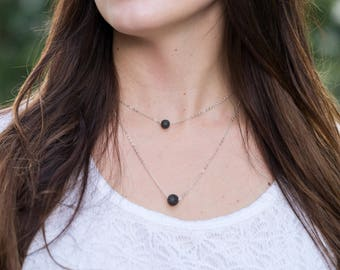 Silver Healing Lava Diffuser Necklace - Minimalist Design