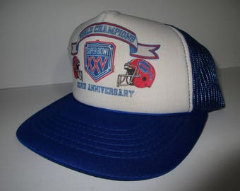 Vintage 90's Unreleased Buffalo Bills Super Bowl XXV Silver Anniversary World Champs Snapback Hat